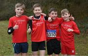 8 February 2020; Members of the St Cronans AC, Clare, under-12 team, that won gold, from left, Tadhg Bane, Odhran O'Farrell, Finn Duignan and Tadhg Hassett during the Irish Life Health National Intermediate, Master, Juvenile B & Relays Cross Country at Avondale in Rathdrum, Co Wicklow. Photo by Matt Browne/Sportsfile