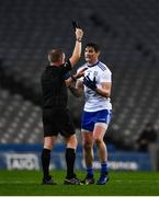 8 February 2020; Darren Hughes of Monaghan reacts as he is shown a black card by referee Ciaran Branagan, in the 36th minute, during the Allianz Football League Division 1 Round 3 match between Dublin and Monaghan at Croke Park in Dublin. Photo by Ray McManus/Sportsfile
