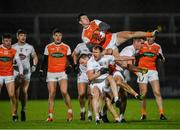 8 February 2020; Joe McElroy of Armagh gathers possession ahead of team-mate Mark Shields and Paul Cribbin of Kildare during the Allianz Football League Division 2 Round 3 match between Armagh and Kildare at Athletic Grounds in Armagh. Photo by Piaras Ó Mídheach/Sportsfile