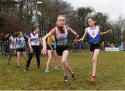 8 February 2020; Aisling Clare of Ratoath AC, Meath, left, takes the baton from team-mate Lucy Mooney during the Irish Life Health National Intermediate, Master, Juvenile B & Relays Cross Country at Avondale in Rathdrum, Co Wicklow. Photo by Matt Browne/Sportsfile