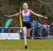 8 February 2020; Aisling Clare of Ratoath AC, Meath, celebrates after she lead her team to a gold medal in the girls under-12 relay during the Irish Life Health National Intermediate, Master, Juvenile B & Relays Cross Country at Avondale in Rathdrum, Co Wicklow. Photo by Matt Browne/Sportsfile