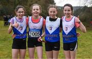 8 February 2020; Members of the girls under-12 relay team from Ratoath AC, Meath, from left, Lucy Mooney, Aisling Clare, Ava Doran and Amber Lane during the Irish Life Health National Intermediate, Master, Juvenile B & Relays Cross Country at Avondale in Rathdrum, Co Wicklow. Photo by Matt Browne/Sportsfile