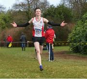 8 February 2020; Paul Delahunty of Greystones and Districy AC, Wicklow, celebrates after winning the Boys under-17 Cross Country during the Irish Life Health National Intermediate, Master, Juvenile B & Relays Cross Country at Avondale in Rathdrum, Co Wicklow. Photo by Matt Browne/Sportsfile