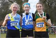 8 February 2020; Leah Toher, centre, from Claremorris AC, Mayo, who won gold in the girls under-17 Cross Country with second place Niamh McDonald, left, from Ballyroan Abbeyleix and District AC, Laois, and third place Kate McCrystal, from Annalee AC, Cavan, during the Irish Life Health National Intermediate, Master, Juvenile B & Relays Cross Country at Avondale in Rathdrum, Co Wicklow. Photo by Matt Browne/Sportsfile