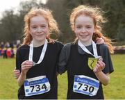 8 February 2020; Twins Caoimhe, left, and Aoife Dempsey of Naas AC, Kildare, who came fifth and sixth in the girls under-17 Cross Country during the Irish Life Health National Intermediate, Master, Juvenile B & Relays Cross Country at Avondale in Rathdrum, Co Wicklow. Photo by Matt Browne/Sportsfile