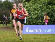 8 February 2020; Orna Moynihan of St. Cronans AC, Clare, right, who won gold in the girls under-15 Cross Country from second place Lily Sheehy from Ashford, Co Wicklow during the Irish Life Health National Intermediate, Master, Juvenile B & Relays Cross Country at Avondale in Rathdrum, Co Wicklow. Photo by Matt Browne/Sportsfile