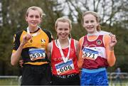 8 February 2020; Orna Moynihan, centre, of St. Cronans AC, Clare, who won gold in the girls under-15 Cross Country with second place Lily Sheehy, left, of Ashford, Wicklow, and third place Grace Byrne, right, of Mullingar Harriers AC, Westmeath, during the Irish Life Health National Intermediate, Master, Juvenile B & Relays Cross Country at Avondale in Rathdrum, Co Wicklow. Photo by Matt Browne/Sportsfile