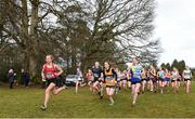 8 February 2020; Orna Moynihan, 606, of St. Cronans AC, Clare, leads the field on her way to winning gold in the girls under-15 Cross Country during the Irish Life Health National Intermediate, Master, Juvenile B & Relays Cross Country at Avondale in Rathdrum, Co Wicklow. Photo by Matt Browne/Sportsfile