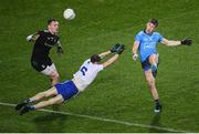 8 February 2020; Seán Bugler of Dublin in action against Monaghan's Karl O'Connell and goalkeeper Rory Beggan during the Allianz Football League Division 1 Round 3 match between Dublin and Monaghan at Croke Park in Dublin. Photo by Stephen McCarthy/Sportsfile