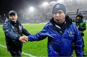 8 February 2020; Monaghan manager Séamus McEnaney, right, and Dublin manager Dessie Farrell shake hands following the Allianz Football League Division 1 Round 3 match between Dublin and Monaghan at Croke Park in Dublin. Photo by Seb Daly/Sportsfile