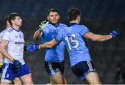 8 February 2020; Kevin McManamon celebrates with Dean Rock of Dublin after scoring a goal, in the 70th minute, during the Allianz Football League Division 1 Round 3 match between Dublin and Monaghan at Croke Park in Dublin. Photo by Ray McManus/Sportsfile