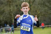 8 February 2020; Jack Collins of Tralee Harriers AC, Kerry, who won gold in the boys under-11 Cross Country during the Irish Life Health National Intermediate, Master, Juvenile B & Relays Cross Country at Avondale in Rathdrum, Co Wicklow. Photo by Matt Browne/Sportsfile