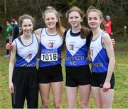 8 February 2020; Members of Ratoath AC, Meath, under-14 relay team, from left, Eve Mooney, Caoimhe Fitzsimons, Niamh Murphy and Katie Doherty, who won gold during the Irish Life Health National Intermediate, Master, Juvenile B & Relays Cross Country at Avondale in Rathdrum, Co Wicklow. Photo by Matt Browne/Sportsfile