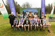 8 February 2020; Georgina Drumm, President of Athletics Ireland, with the medal winners from the boys under-15 Cross Country during the Irish Life Health National Intermediate, Master, Juvenile B & Relays Cross Country at Avondale in Rathdrum, Co Wicklow. Photo by Matt Browne/Sportsfile