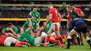 8 February 2020; Josh van der Flier of Ireland, bottom with red scrum cap, celebrates after scoring his side's third try during the Guinness Six Nations Rugby Championship match between Ireland and Wales at Aviva Stadium in Dublin. Photo by Brendan Moran/Sportsfile