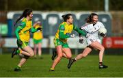 9 February 2020; Ailbhe Davoren of Galway in action against Niamh Boyle and Nicole McLaughlin of Donegal during the 2020 Lidl Ladies National Football League Division 1 Round 3 match between Donegal and Galway at O'Donnell Park in Letterkenny, Donegal. Photo by Oliver McVeigh/Sportsfile