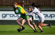 9 February 2020; Deirdre Foley of Donegal in action against Tracey Leonard, centre, and Róisín Leonard of Galway during the 2020 Lidl Ladies National Football League Division 1 Round 3 match between Donegal and Galway at O'Donnell Park in Letterkenny, Donegal. Photo by Oliver McVeigh/Sportsfile