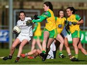 9 February 2020; Ailbhe Davoren of Galway in action against Niamh Boyle of Donegal during the 2020 Lidl Ladies National Football League Division 1 Round 3 match between Donegal and Galway at O'Donnell Park in Letterkenny, Donegal. Photo by Oliver McVeigh/Sportsfile