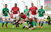 8 February 2020; Dan Biggar of Wales is tackled by Josh van der Flier of Ireland during the Guinness Six Nations Rugby Championship match between Ireland and Wales at the Aviva Stadium in Dublin. Photo by Ramsey Cardy/Sportsfile
