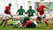 8 February 2020; Dan Biggar of Wales is tackled by Jonathan Sexton, left, and Josh van der Flier of Ireland during the Guinness Six Nations Rugby Championship match between Ireland and Wales at the Aviva Stadium in Dublin. Photo by Ramsey Cardy/Sportsfile