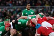 8 February 2020; Bundee Aki of Ireland during the Guinness Six Nations Rugby Championship match between Ireland and Wales at the Aviva Stadium in Dublin. Photo by Ramsey Cardy/Sportsfile