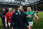 8 February 2020; Cian Healy, left, and Andrew Conway of Ireland during the Guinness Six Nations Rugby Championship match between Ireland and Wales at the Aviva Stadium in Dublin. Photo by Ramsey Cardy/Sportsfile