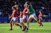 9 February 2020; Beibhinn Parsons of Ireland celebrates after scoring her side's first try during the Women's Six Nations Rugby Championship match between Ireland and Wales at Energia Park in Dublin. Photo by Ramsey Cardy/Sportsfile