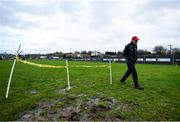 9 February 2020; Tyrone manager Mickey Harte walks the pitch prior to the Allianz Football League Division 1 Round 3 match between Tyrone and Kerry at Edendork GAC in Dungannon, Co Tyrone. Photo by David Fitzgerald/Sportsfile