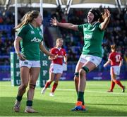 9 February 2020; Beibhinn Parsons of Ireland celebrates after scoring her side's first try with team-mate Aoife McDermott during the Women's Six Nations Rugby Championship match between Ireland and Wales at Energia Park in Dublin. Photo by Ramsey Cardy/Sportsfile