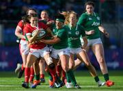 9 February 2020; Jasmine Joyce of Wales is tackled by Aoife McDermott, left, and Lindsay Peat of Ireland during the Women's Six Nations Rugby Championship match between Ireland and Wales at Energia Park in Dublin. Photo by Ramsey Cardy/Sportsfile