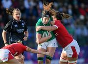 9 February 2020; Aoife McDermott of Ireland is tackled by Keira Bevan, left, and Siwan Lillicrap of Wales during the Women's Six Nations Rugby Championship match between Ireland and Wales at Energia Park in Dublin. Photo by Ramsey Cardy/Sportsfile
