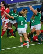 9 February 2020; Linda Djougang of Ireland celebrates after scoring her side's fourth try with team-mates during the Women's Six Nations Rugby Championship match between Ireland and Wales at Energia Park in Dublin. Photo by Ramsey Cardy/Sportsfile