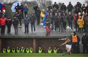 9 February 2020; Seán O'Shea of Kerry kicks a free during the Allianz Football League Division 1 Round 3 match between Tyrone and Kerry at Edendork GAC in Dungannon, Co Tyrone. Photo by David Fitzgerald/Sportsfile