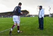 9 February 2020; Galway goalkeeper Connor Gleeson leaves the pitch after receiving a black card following a first half penalty incident during the Allianz Football League Division 1 Round 3 match between Donegal and Galway at O'Donnell Park in Letterkenny, Donegal. Photo by Oliver McVeigh/Sportsfile