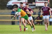 9 February 2020; Eoghan Ban Gallagher of Donegal in action against Damien Comer of Galway during the Allianz Football League Division 1 Round 3 match between Donegal and Galway at O'Donnell Park in Letterkenny, Donegal. Photo by Oliver McVeigh/Sportsfile