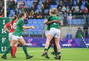 9 February 2020; Ireland players, Linda Djougang, Cliodhna Moloney and Anne-Marie O'Hora celebrate a penalty try during the Women's Six Nations Rugby Championship match between Ireland and Wales at Energia Park in Dublin. Photo by Ramsey Cardy/Sportsfile