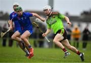 8 February 2020; Cathal Dunbar of IT Carlow in action against David Prendergast of Mary Immaculate College Limerick during the Fitzgibbon Cup Semi-Final match between Mary Immaculate College Limerick and IT Carlow at Dublin City University Sportsgrounds. Photo by Sam Barnes/Sportsfile