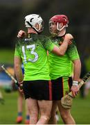 8 February 2020; Chris Nolan, left, and Mark Slevin of IT Carlow celebrate following the Fitzgibbon Cup Semi-Final match between Mary Immaculate College Limerick and IT Carlow at Dublin City University Sportsgrounds. Photo by Sam Barnes/Sportsfile