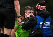 8 February 2020; Mark Slevin of IT Carlow receives medical treatment during the Fitzgibbon Cup Semi-Final match between Mary Immaculate College Limerick and IT Carlow at Dublin City University Sportsgrounds. Photo by Sam Barnes/Sportsfile