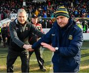 9 February 2020; Meath manager Andy McEntee, right, and Mayo manager James Horan following the Allianz Football League Division 1 Round 3 match between Meath and Mayo at Páirc Tailteann in Navan, Meath. Photo by Seb Daly/Sportsfile