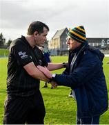 9 February 2020; Referee Seán Hurson with Meath manager Andy McEntee following the Allianz Football League Division 1 Round 3 match between Meath and Mayo at Páirc Tailteann in Navan, Meath. Photo by Seb Daly/Sportsfile
