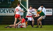 9 February 2020; David Clifford of Kerry tussles on the ground with Ben McDonnell of Tyrone prior to receiving his second yellow card during the Allianz Football League Division 1 Round 3 match between Tyrone and Kerry at Edendork GAC in Dungannon, Co Tyrone. Photo by David Fitzgerald/Sportsfile