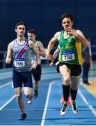 9 February 2020; Eoghan Courtney of An Ríocht AC, Kerry, right, and Paul O'Callaghan of Dundrum South Dublin AC, competing in the Senior Men's 400m during the AAI National Indoor Games at the Sport Ireland National Indoor Arena on the Sport Ireland Campus in Dublin. Photo by Eóin Noonan/Sportsfile