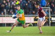 9 February 2020; Eoghan Ban Gallagher of Donegal in action against Shane Walsh of Galway during the Allianz Football League Division 1 Round 3 match between Donegal and Galway at O'Donnell Park in Letterkenny, Donegal. Photo by Oliver McVeigh/Sportsfile