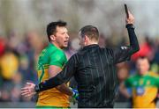 9 February 2020; Referee Joe McQuillan issues a black card to Paul Brennan of Donegal during the Allianz Football League Division 1 Round 3 match between Donegal and Galway at O'Donnell Park in Letterkenny, Donegal. Photo by Oliver McVeigh/Sportsfile