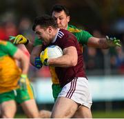 9 February 2020; Damien Comer of Galway in action against Paul Brennan Donegal during the Allianz Football League Division 1 Round 3 match between Donegal and Galway at O'Donnell Park in Letterkenny, Donegal. Photo by Oliver McVeigh/Sportsfile