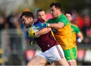 9 February 2020; Paul Conroy of Galway in action against Andrew McClean of Donegal during the Allianz Football League Division 1 Round 3 match between Donegal and Galway at O'Donnell Park in Letterkenny, Donegal. Photo by Oliver McVeigh/Sportsfile