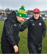 9 February 2020; Tyrone manager Mickey Harte, right, and Kerry manager Peter Keane following the Allianz Football League Division 1 Round 3 match between Tyrone and Kerry at Edendork GAC in Dungannon, Co Tyrone. Photo by David Fitzgerald/Sportsfile