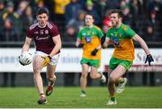 9 February 2020; Shane Walsh of Galway in action against Eoghan Ban Gallagher of Donegal during the Allianz Football League Division 1 Round 3 match between Donegal and Galway at O'Donnell Park in Letterkenny, Donegal. Photo by Oliver McVeigh/Sportsfile