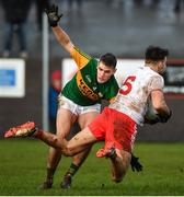 9 February 2020; Tiernan McCann of Tyrone is tackled by Graham O'Sullivan of Kerry resulting in a late free during the Allianz Football League Division 1 Round 3 match between Tyrone and Kerry at Edendork GAC in Dungannon, Co Tyrone. Photo by David Fitzgerald/Sportsfile